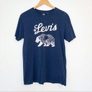 Levi's Large Navy Blue Logo T-shirt Short Sleeve
